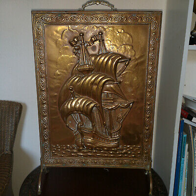 """Charming Vintage 1950'S Brass & Wood Fire Screen-'Galleon'-23"""" Tall-Nice"""
