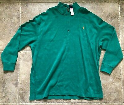 Polo Ralph Lauren Mens 3XB Green Quarter Zip Sweater  Long Sleeve New With Tags