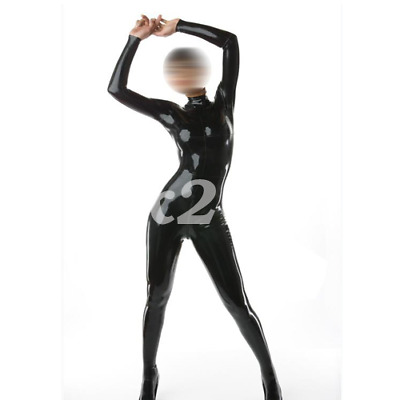 Latex Gummi Zipper Schwarz Long Catsuit Overall Tight Bodysuit Zipper S-XXL