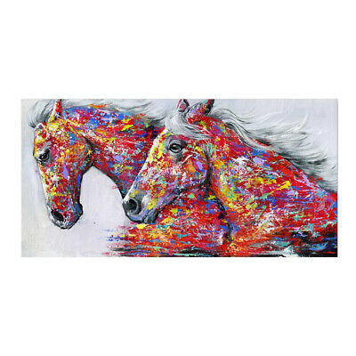 Canvas Painting Wall Art Poster Oil Painting Two Horses Prints Home Deco 20*40cm