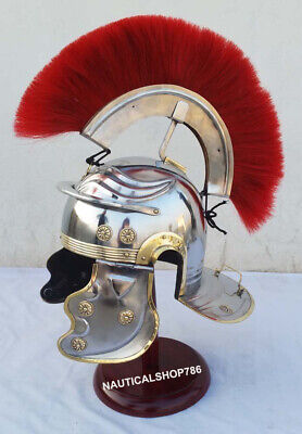 Medieval Roman Centurion Helmet Halloween Costume Red Plume With Stand