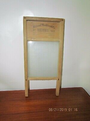 Vintage National No. 863 Glass and Wood Lingerie Washboard
