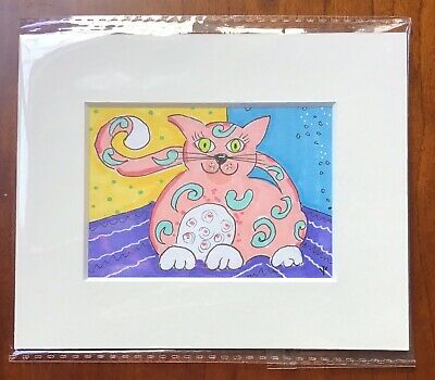 ACEO Original Pink Cat, Illustration Mounted Cute Cat, Marker Pen Drawing