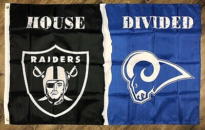 Oakland Raiders vs Los Angeles Rams House Divided NFL Flag 3x5 ft Banner New