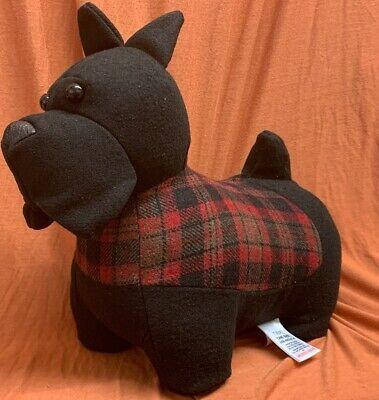 Next Black Scottie Dog Doorstop Door Stop Red Check Sterling Scottish Terrier
