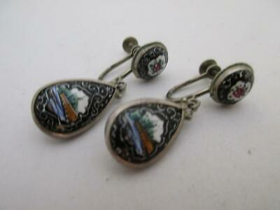 ANTIQUE ART DECO sterling silver enamel middle eastern screw back earrings  K336