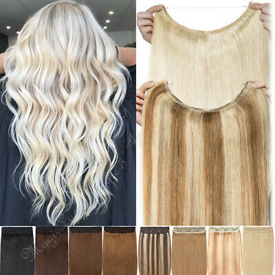 Human Hair Extensions One Piece Wire In Halos No Clip Headband Remy Thick 120g+