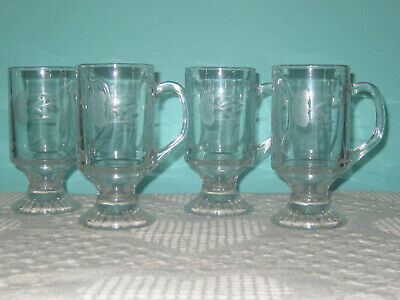 Princess House 4 Etched Glass Footed Mugs 8 oz.