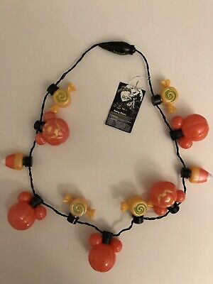 Disney Parks Halloween 2019 Mickey Mouse Glow Pumpkin Light Up Necklace Candy