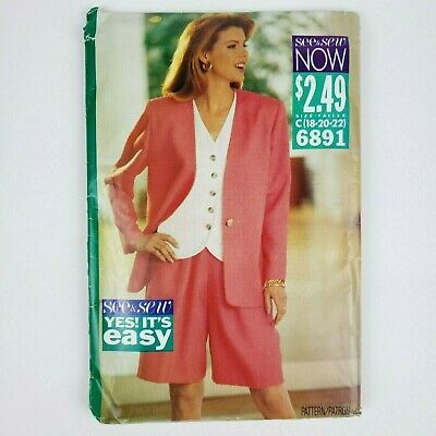 BUTTERICK #6891 LADIES PRETTY WOMAN STYLE SHORTS-JACKET /& TOP PATTERN  6-22 FF