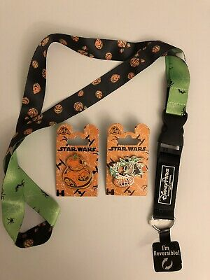 Disney Parks 2019 Halloween Reversible Lanyard with 2 Star Wars Pins BB-8 & Yoda
