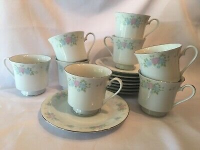 Set Of 8 Vintage Prestige China Garden by Jian Shiang Cups & Saucers ~ 16 Pieces