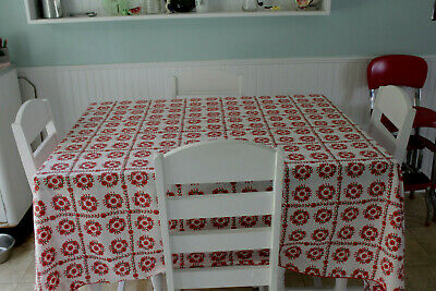 Vintage Cotton Kitchen Tablecloth Red flowers with Green 60.5x 83