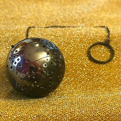 Antique Sterling Silver Tea Ball Infuser with Chain and Hinged Lid