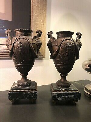 Pair of antique Spelter French Urns with Rooster Handles -  Stunning!