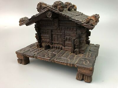 Antique Black Forest German Swiss Wood Carved House Hinged Box