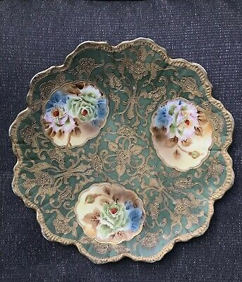Antique Nippon Porcelain Moriage Floral Gold Plate Hand Painted Roses Japan