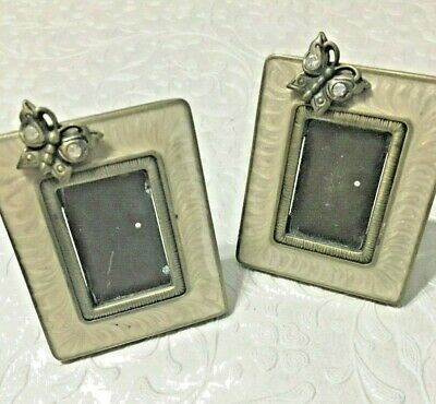 Jay Strongwater Mini Frame Pair Easel Clip Ivory Color Enamel w Butterfly Motif