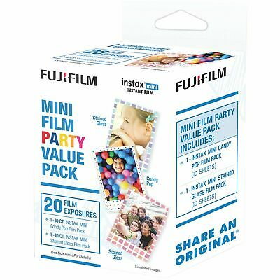 Fujifilm Instax Mini Film Party Value Pack 20 Exposures Stained Glass Candy Pop