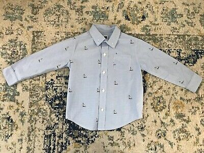 Janie And Jack Toddler Boy Longsleeve Sailboat Button Up Shirt Size 2t