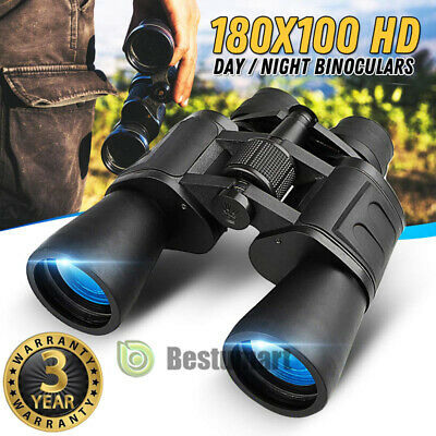 180x100 Zoom Day Night Vision Outdoor Travel Binoculars Hunting Telescope+Case