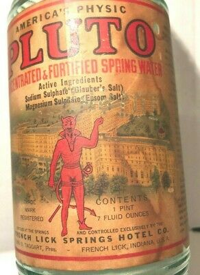 Vtg Pluto Water Laxative Medicine Quack Bottle Devil Paper Label French Lick