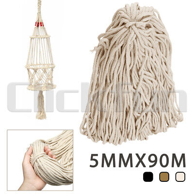 5mm 90M Macrame Rope Natural beige Cotton Twisted Cord Artisans Hand Craft NEW