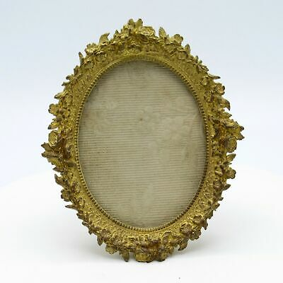 Antique French Brass Floral Rim Picture Photo Frame