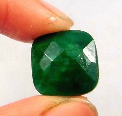 Dyed  Faceted Beryl Emerald Gemstone 7 ct 12x12mm W399