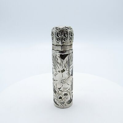 Antique Sterling Lid and Silver Overlay Perfume Scent Bottle