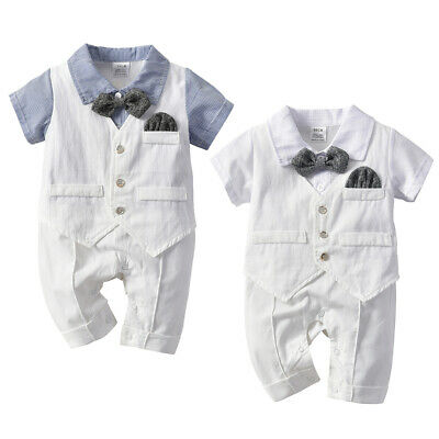 Gentleman Newborn Baby Boy Girl Romper Jumpsuit Bodysuit Party Clothes Outfits