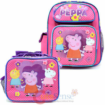 "Peppa Pig School Backpack Lunch Bag 2pc Set 12"" Small Girls Pink Book Bag Set"