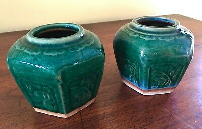 Pair of Antique Chinese Hexagonal Stoneware Pickle Jars Excellent condition
