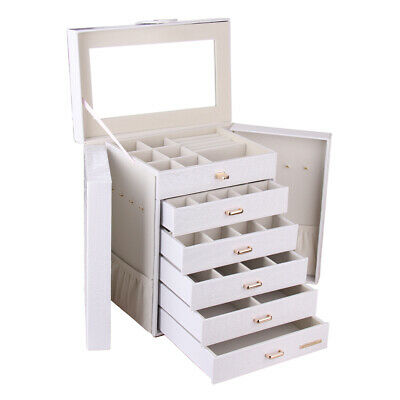 White Large Jewellery Box Rings Necklace Watches Storage Organiser W/Travel Case
