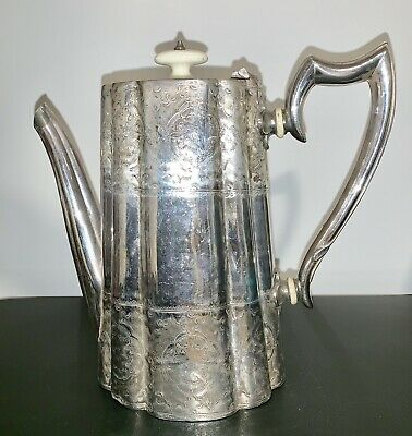 Antique Victorian 1880's Sheffield Silver Plate Coffee Pot - Excellent Silver