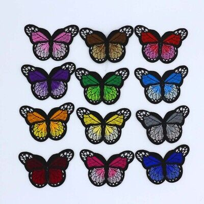 "12 Pack  2"" Monarch Butterfly Embroidered Patch, Iron-On/Sew-On Applique Motif"
