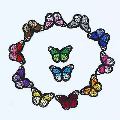 12 Pack  Monarch Butterfly Mini Small Embroidered Patch, Iron-On/Sew-On Applique