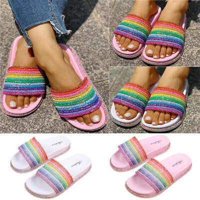 Womens Flat Rainbow Slippers Summer Slip On Sliders Sandals Flip Flop Shoes Size