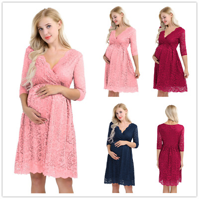 Pregnant Women Dress High Waist Floral Lace Dresses Maternity Photography party