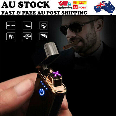 AU Windproof Lighter Electric Double Arc Flameless Plasma Torch USB Rechargeable