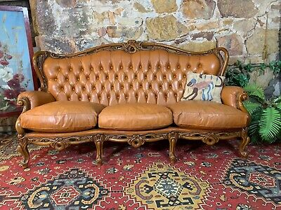 Vintage Leather French Louis Wingback Chesterfield Lounge 3 Seater Sofa~Chair
