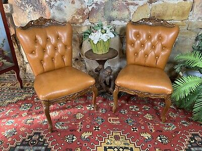 Pair Vintage Leather French Louis Wingback Chesterfield Lounge Side Chair