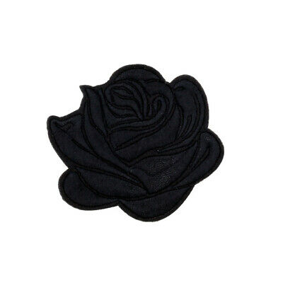 "2""-2P Black Rose Embroidered IronOn Patch/Sew Applique Motif - Goth Punk Alt Emo"