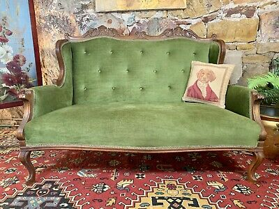 Antique French Louis Wingback Chesterfield Lounge,2 Seater Sofa~Chair~Green