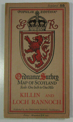 1932 Old OS Ordnance Survey Popular Ed One-Inch Map 55 Killin & Loch Rannoch