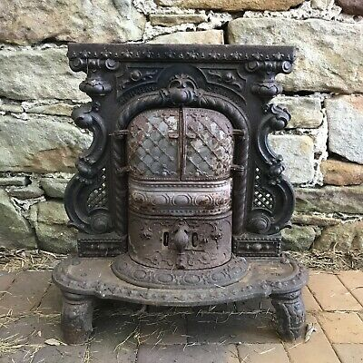 Antique Cast Iron Fire Grate Pit Fireplace Pot Belly Stove/Heater~Parts/Restore