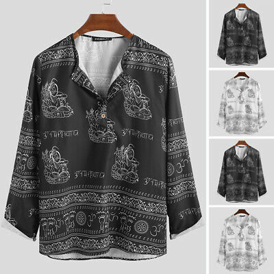 Men's Casual T Shirt Ethnic Style Printing Vintage Long Sleeve Loose Blouse Tops
