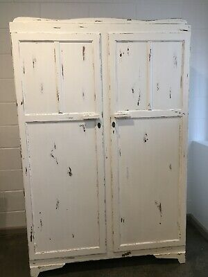 Vintage/shabby antique-white wardrobe armoire Ex Used Con distressed look