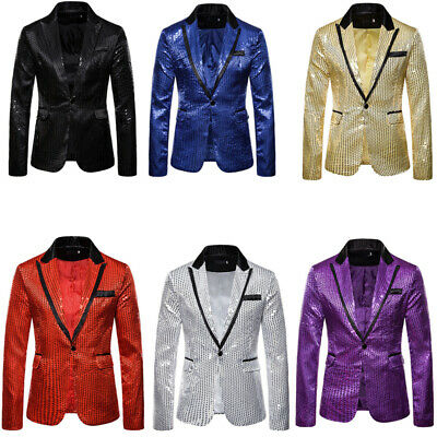 Mens Glitter Sequin Suit Jacket Notch Lapel Blazer One Button Breasted Casual