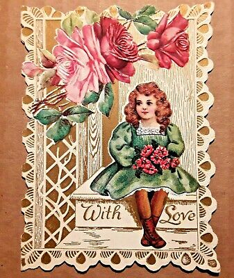 Antique Victorian Embossed Die Cut Valentine Greeting Card Early 1900's